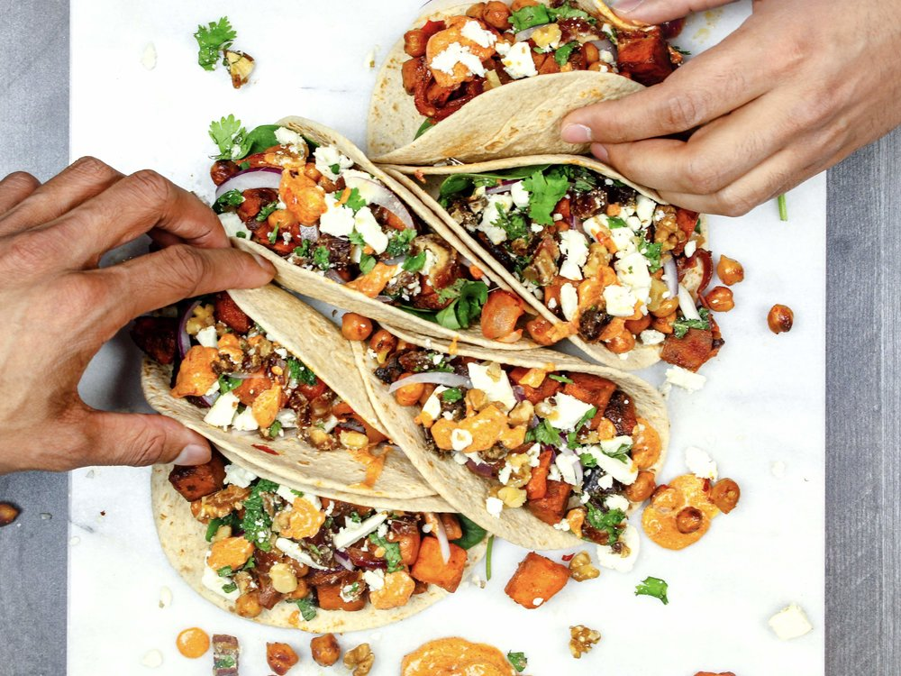 Harissa Sweet Potato and Chickpea Tacos