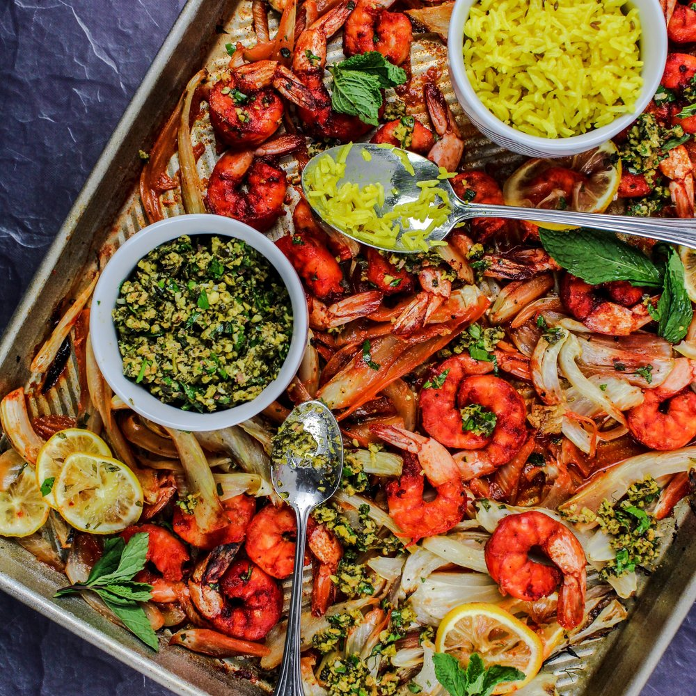 Tandoori Shrimp with Pistachio Salsa Verde