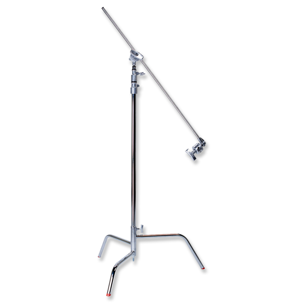 Matthews C Stand w/ Grip Arm  -  Amazon    Heavy duty stand for rigging lights, flags, bead boards, etc. Has a sliding leg for uneven surfaces.