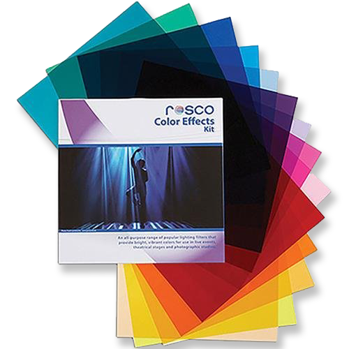 Rosco Color Effects Kit  -  Amazon    Colored gels for adding color to your lighting.