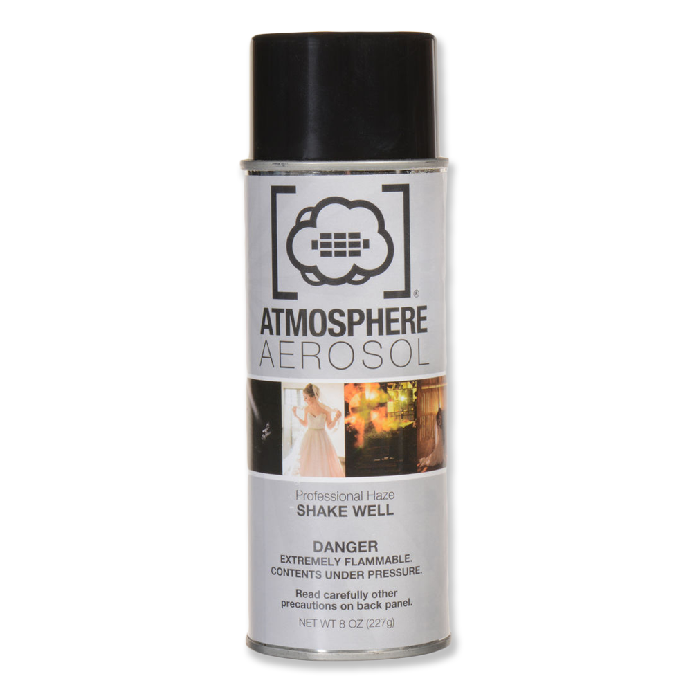 Atmosphere Aerosol  -  8oz Can  -    Amazon    Portable haze in a spray can. Adds haze/fog to shots for a moodier look or to add streaks of light.