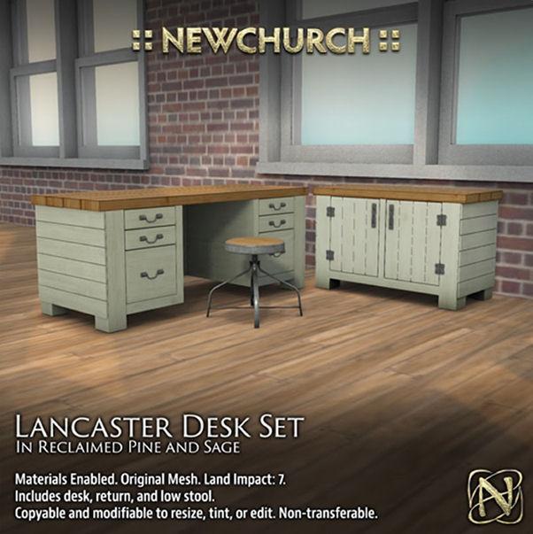Newchurch - Landcaster Desk - reclaimed pine sage - Cosmopolitan Event.jpg