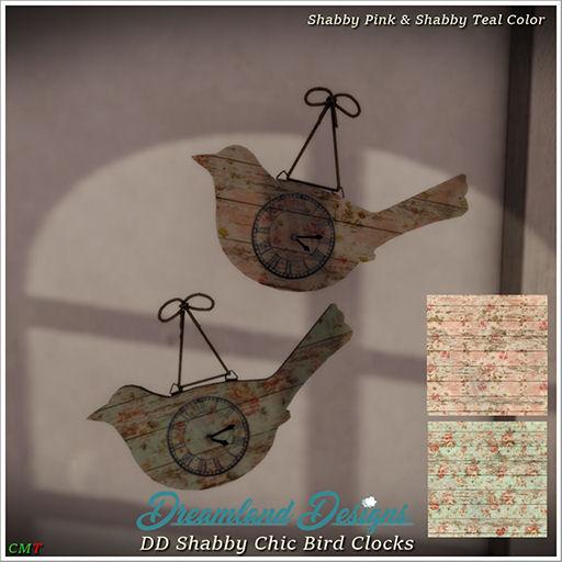 Dreamland Designs - Shabby Chic Bird Clocks - Fly Buy Friday.jpg