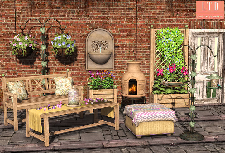 We used pieces from the Apple Fall Farrow Garden Set and Notting Hill Cobblestone Set as background to this picture.