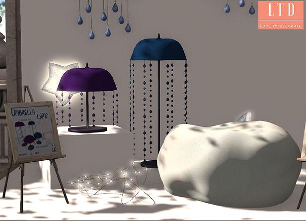 Llama Inc - umbrella lamp & cloud pouf - SaNaRae.jpg