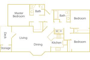 3 bed/ 2 bath - Rent $1395/mo1204 sq. feet