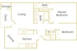 2 bed/ 2 bath - Rent $1195/mo952 sq. feet