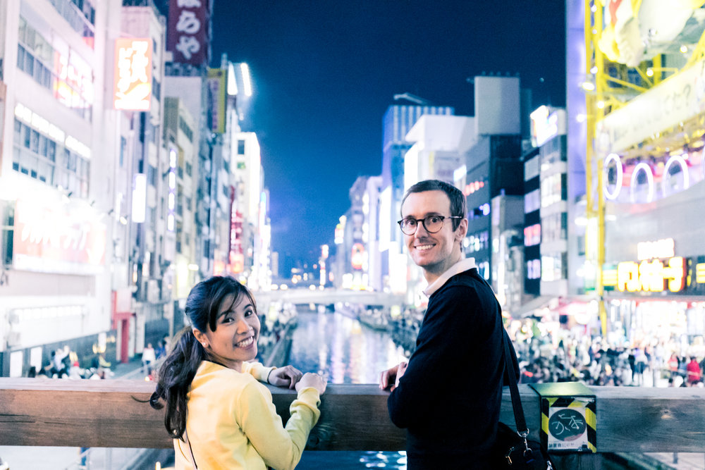 Photoshoot tour in Osaka at night with photographer