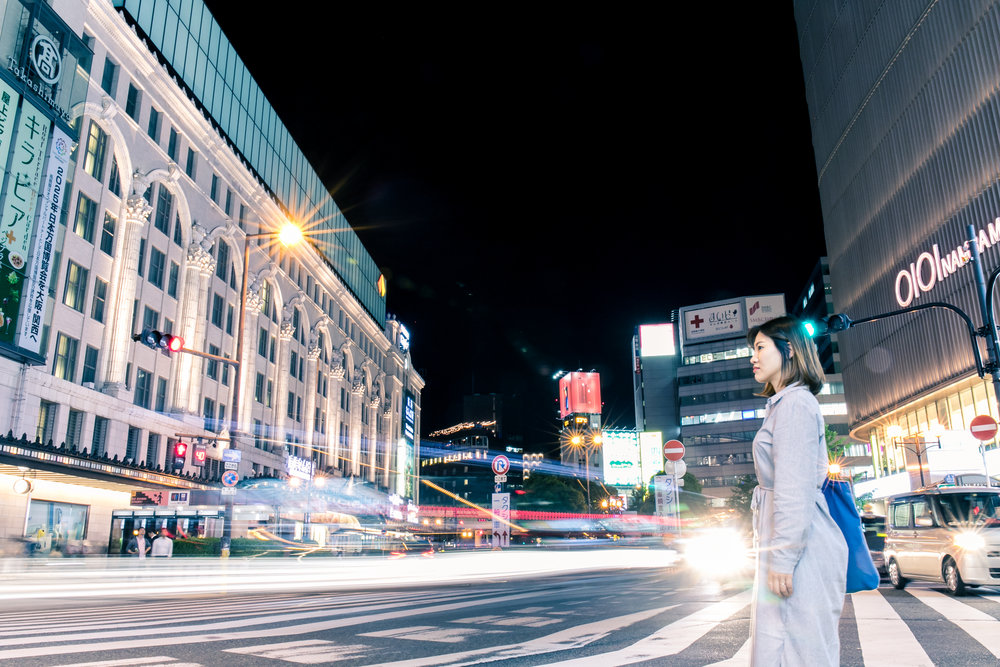 Photoshoot tour at night in namba osaka with photographer