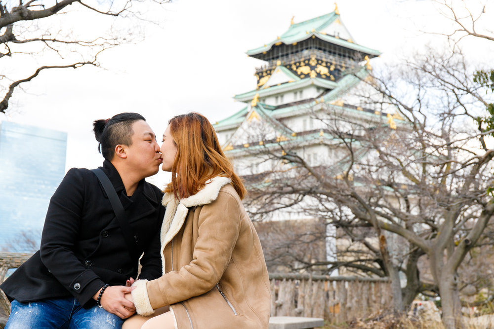 Surprise proposal photoshooting in Osaka castle park