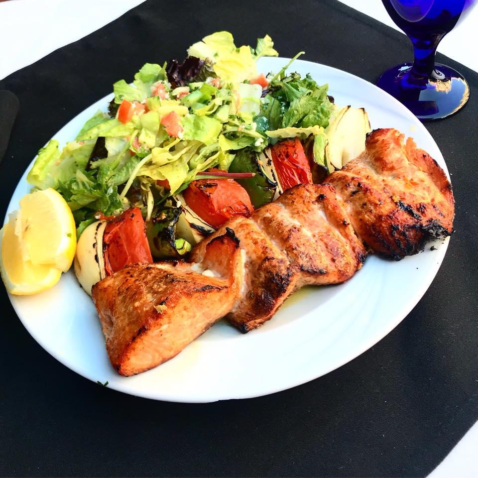 Salmon Kabob w/Salad