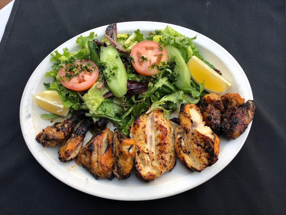 Cornish Chicken Kabob w/Green Salad