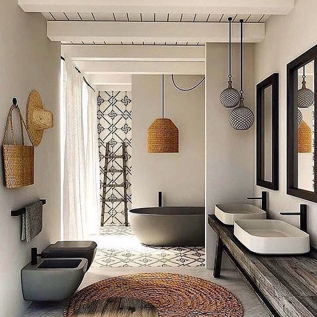 This we call summer feeling pure. Get the summer into your bathroom with cute accessories and tiles. Via. @luxclusivehouse * * * #summerfeeling #decoration #imteriordesign #accessories #designlife #upscaleinteriors #summermood #interior #holiday #luxery #tiles #paddern #holiday #designthelifeyoulove
