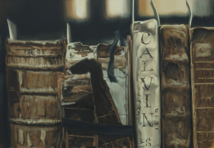 XIE XIAOZE ,  Thomas Fisher Rare Book Library, University of Toronto No. 4 (Calvin) , 2015, oil on linen, 92 × 132 cm. Courtesy the artist and Chambers Fine Art, New York.