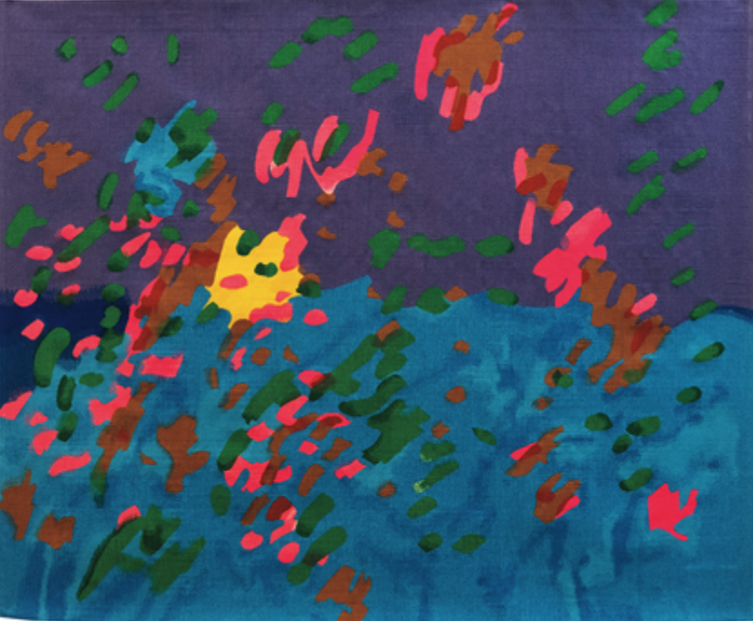 ETEL ADNAN ,  Explosion Florale , 1968/2018, hand-woven wool tapestry, 163 × 198 cm. Courtesy the artist and Sfeir-Semler Gallery, Hamburg/Beirut.