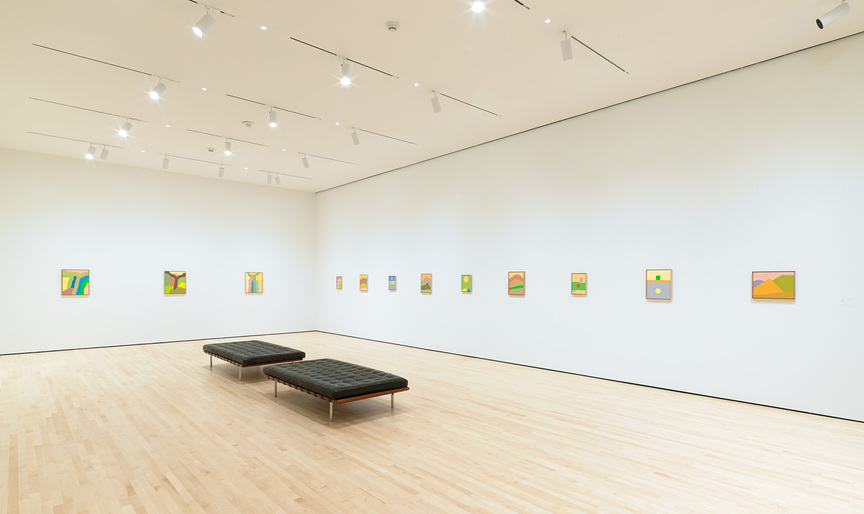 "Installation view of  ETEL ADNAN 's ""New Work"" at the San Francisco Museum of Modern Art, 2018. Photo by Katherine Du Tiel. Courtesy the San Francisco Museum of Modern Art."