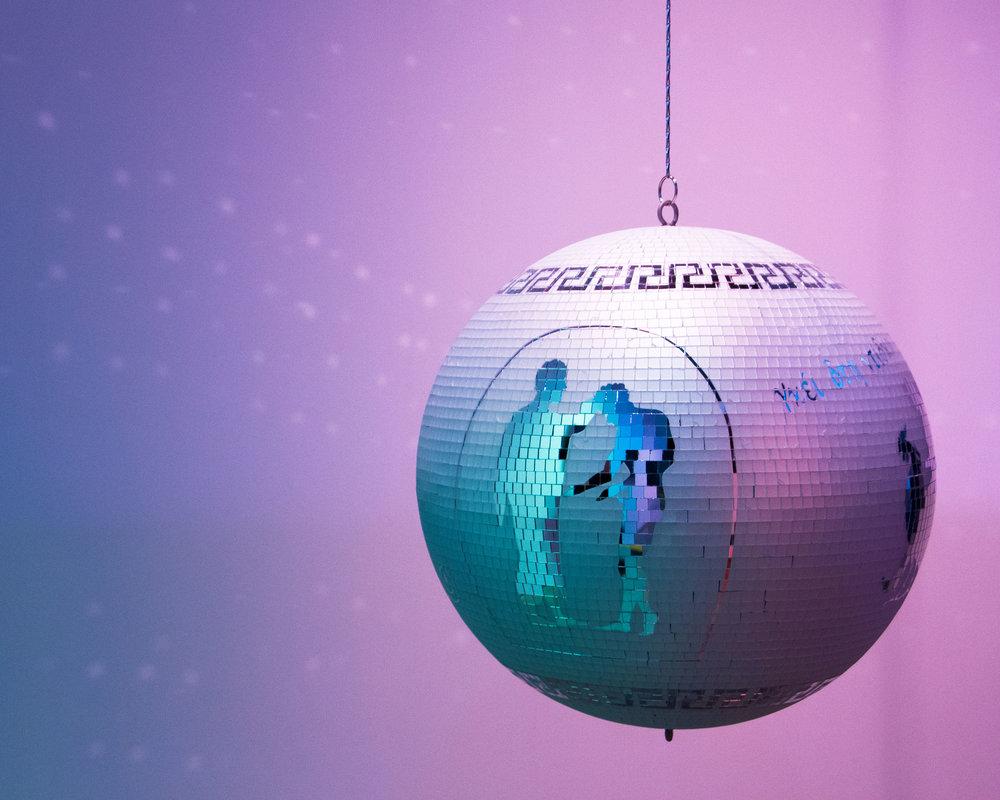 Jaime C. Knight, Untitled (Everyone's gay on the dance floor)       Sandblasted Mirror Ball, Motor, Chain // 20x20x20 // 2019