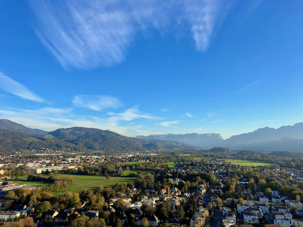 Commanding views from the southern ramparts of Hohensalzburg Fortress