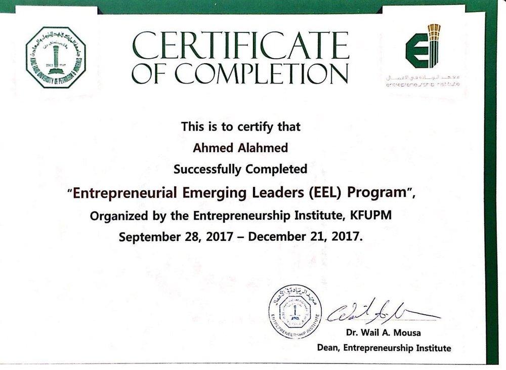 Completed the Entrepreneurial Emerging Leaders (EEL) Program — Ahmed ...