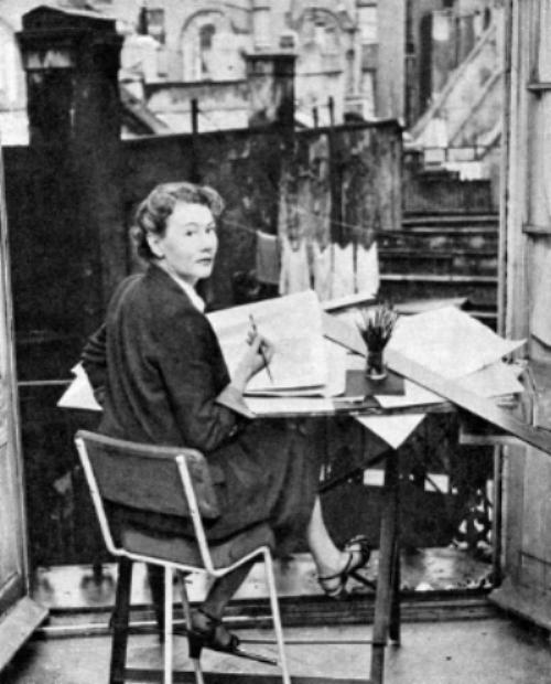 Joy Batchelor at her studio in Cainscross, Stroud c. 1954