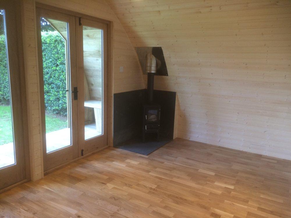 glamping pod with log burner