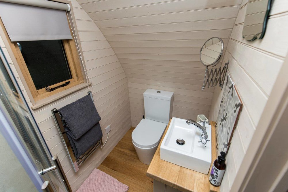 luxury shower room glamping pod