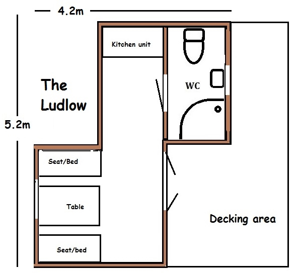 glamping pod with shower room floorplan