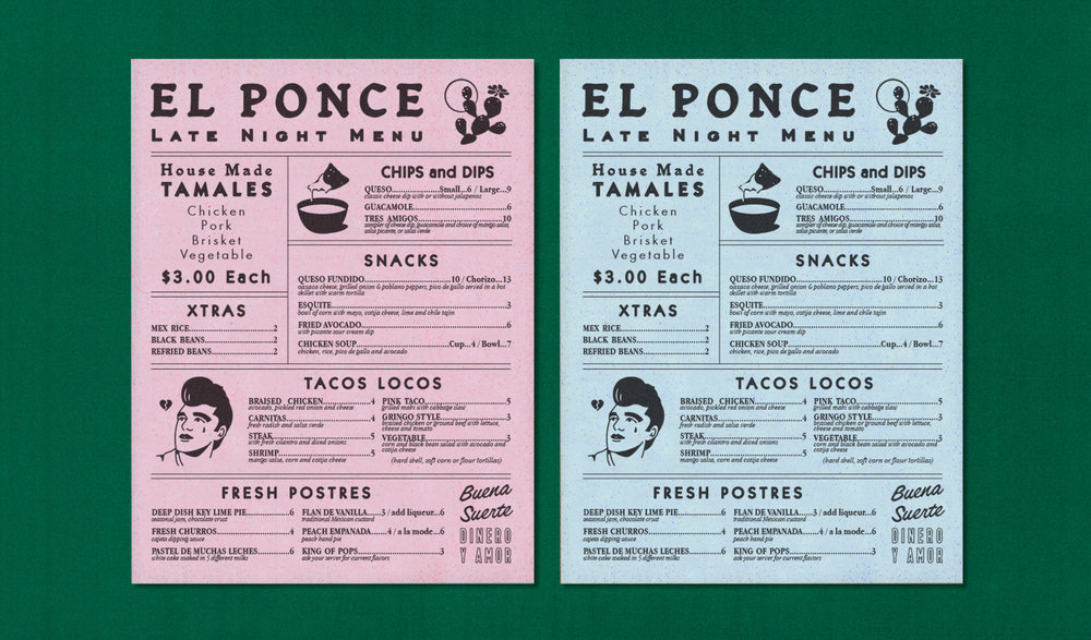 El Ponce Menu Design Atlanta