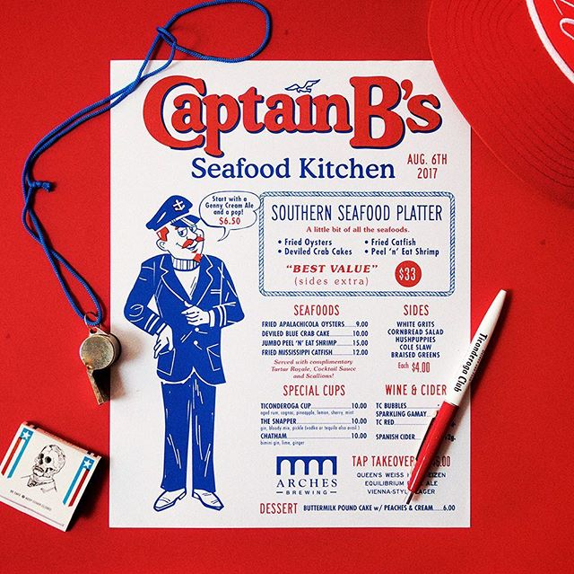 Here's to Spring and warmer days / Design for last year's Captain B's Seafood Kitchen @ticonderogaclub 🎣