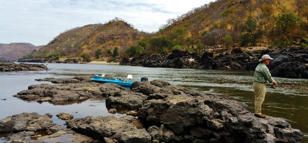 Fishing in the gorge on the Zambezi River