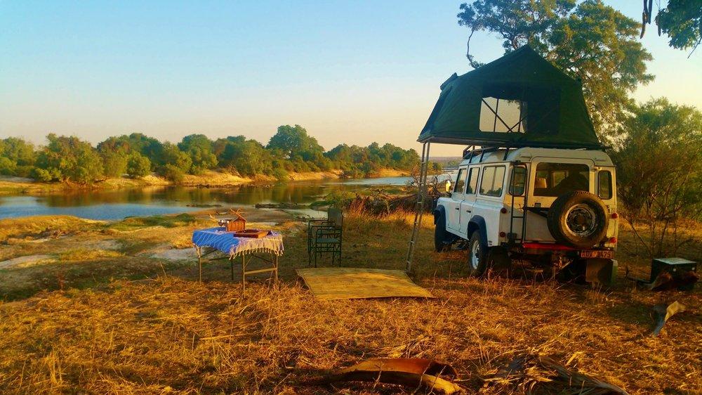 Camping on the bank of the Zambezi River