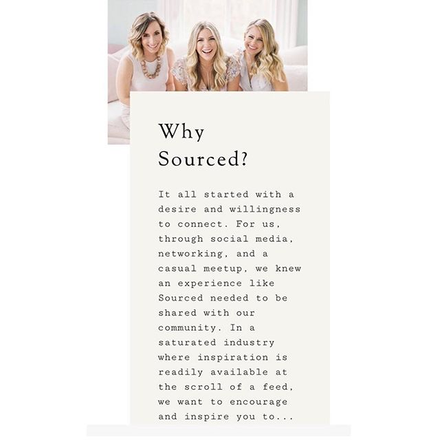✨SO, why SOURCED?! It all started with a desire and willingness to connect! ✨ We are SO excited to share with you all our passion and love for collaborating and creating. We find so much joy working with each other and uniting as a team and we hope you find that joy as well through attending Sourced! #letssourceit⠀ ⠀ ⠀ ⠀ ⠀ ⠀⠀ ⠀ ⠀ ✨LIMITED amount of tickets are on sale NOW! ✨Link in bio! ⠀ ⠀ ⠀ ⠀ ⠀ Photography By: @theallisonkuhn ⠀ ⠀ ⠀
