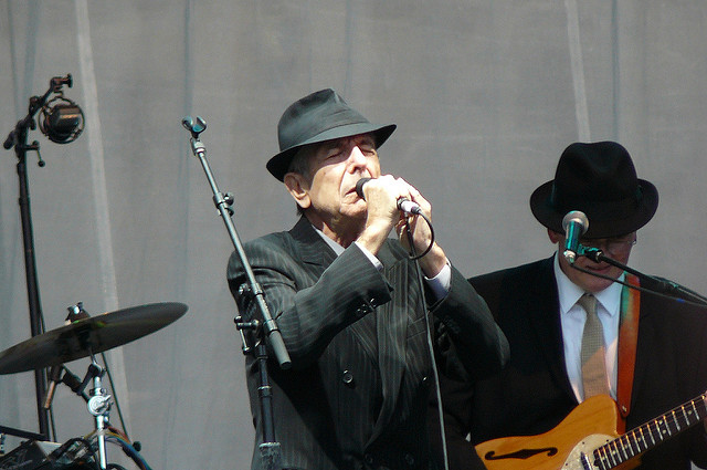 Leonard Cohen performs at Edinburgh Castle in Scotland during his 2008 world tour. Photo courtesy of flickr.