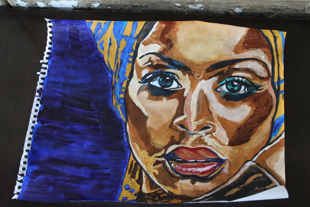Rawlins' painting of singer-songwriter Erykah Badu (CanCulture/Madi Wong)