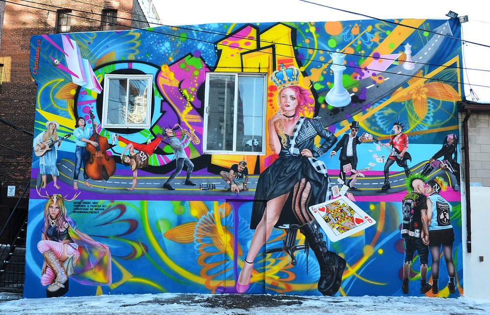 De Araujo's Queen Street West Mural Project tells the history behind Queen Street West. His mural consists of real musicians, magicians, artists and more who have performed and roamed the street. (Photo courtesy of christiano_artist via Instagram)