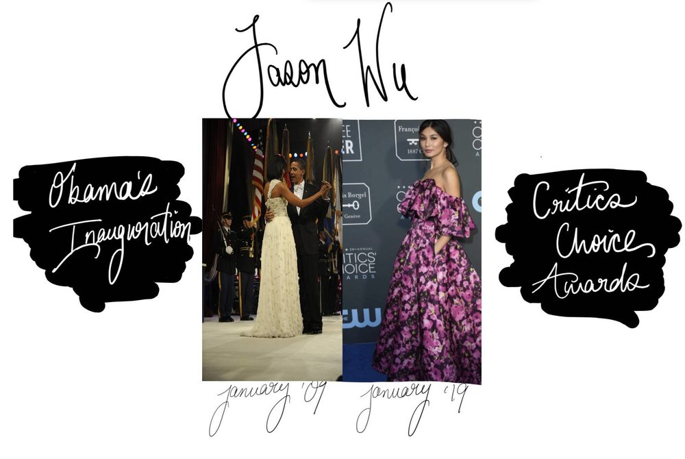 From left: Michelle Obama dances with her husband Barack Obama at his presidential inauguration in a dress designed by Jason Wu. (Photo courtesy of Tech. Sgt. Suzanne Day via Wikimedia Commons) Actress Gemma Chan poses in a custom Jason Wu floral gown at the Critics' Choice Awards. (Photo courtesy of  Jason Wu  via Instagram) Graphic created by Meghna Sarawat.