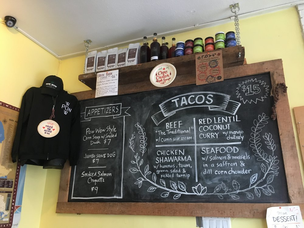 The appetizers and Indian taco menu are displayed promptly on a chalkboard of Pow Wow Cafe's wall. (CanCulture/Bree Duwyn)
