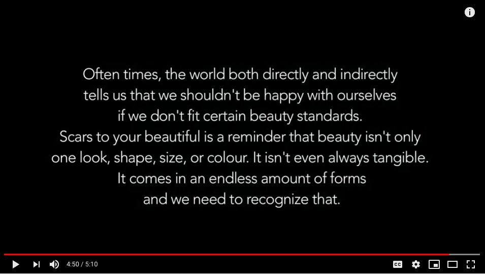 "The end message from Alessia Cara's ""Scars to Your Beautiful"" music video."