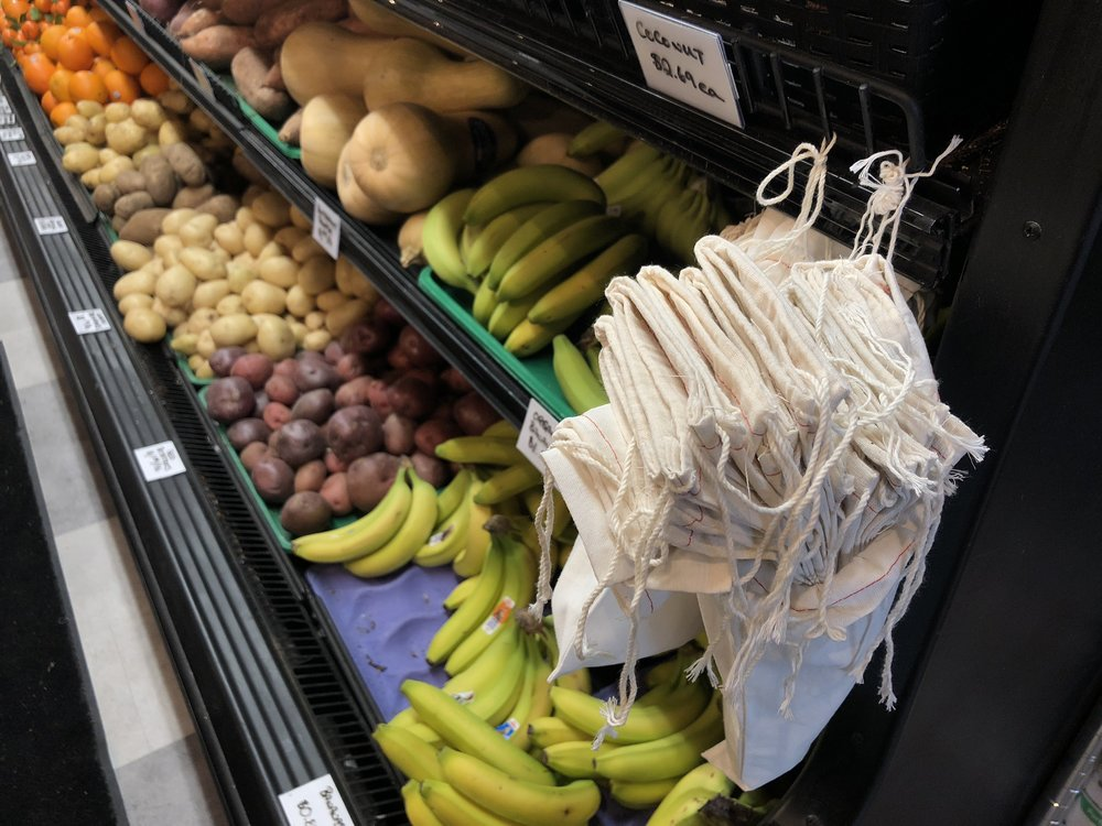 Unboxed Market offers cloth bags for two dollars each for produce in the store, in order to eliminate the use of harmful plastic bags. (CanCulture/Sophie Chong)