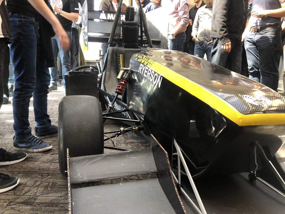 Ryerson Formula Racing's new car, the RF-19 which was revealed at the unveiling on Saturday. (CanCulture/Talha Hashmani)