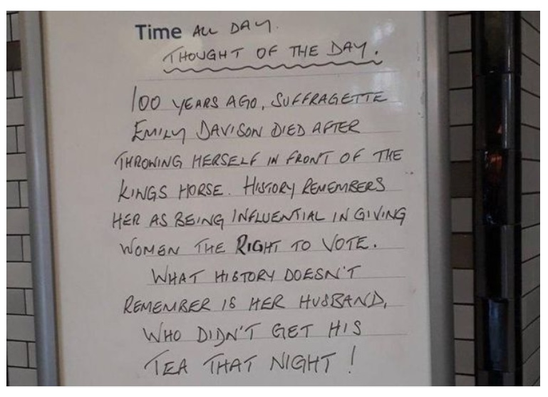Daily thought sign at Colliers Wood Station a day after the 100 year anniversary of women in England gaining the right to vote,