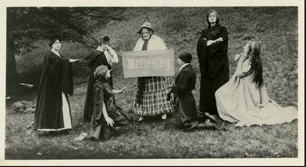 The Fool's Club at Wellesley College.  Marjory Stoneman, kneeling in the foreground as April's Fool.