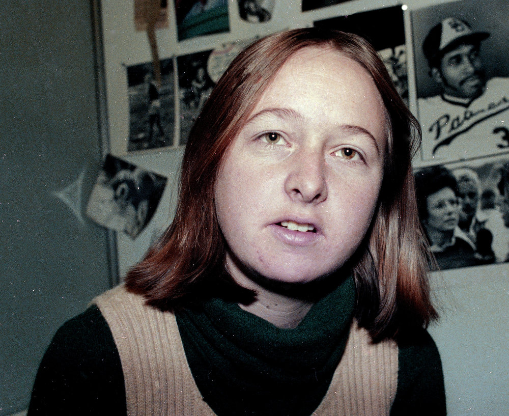 Melissa Ludtke in her Sports Illustrated office in 1978