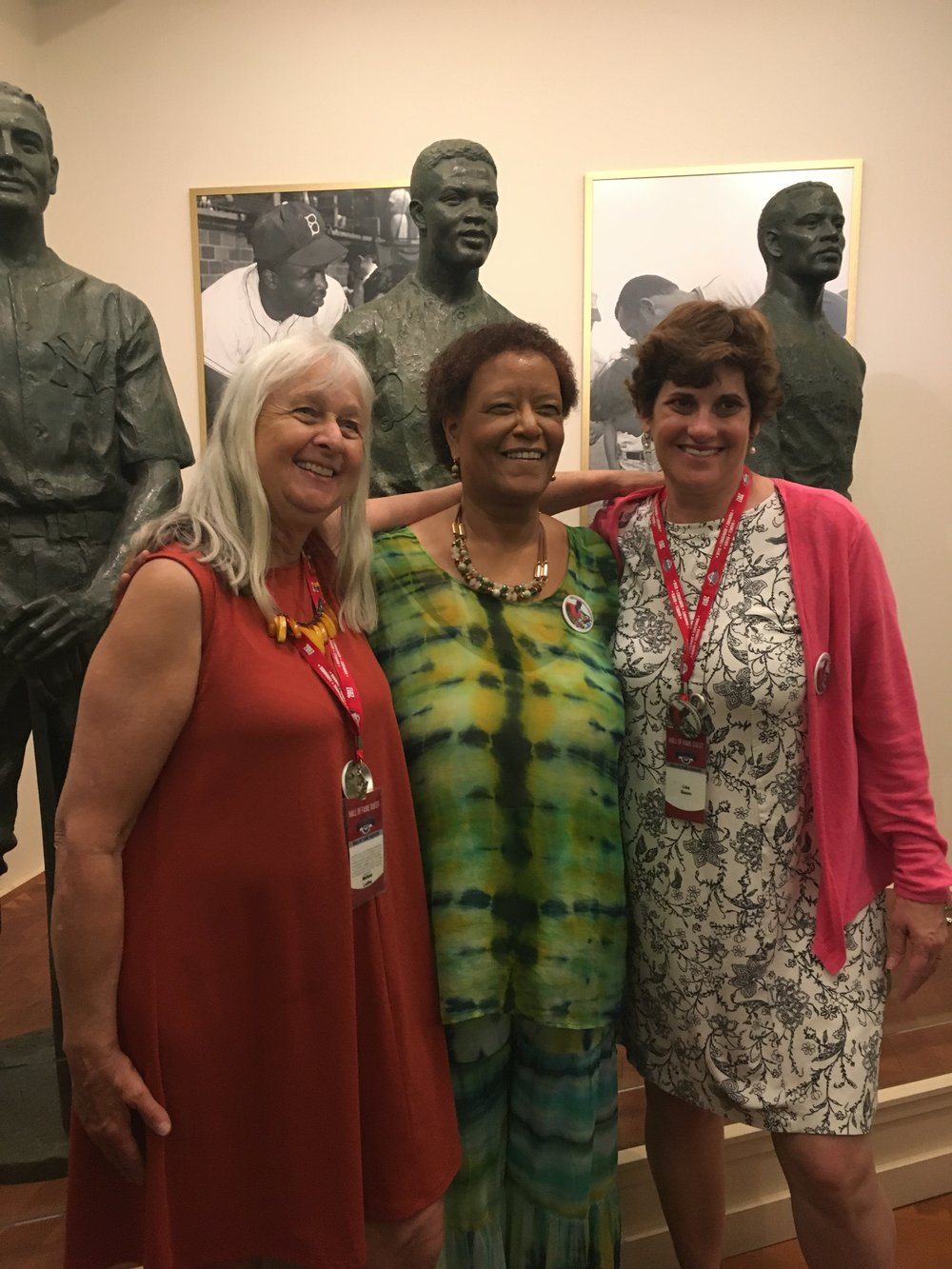 Melissa Ludtke, left, Claire Smith, center, Lisa Nehus Saxon, right, in the Baseball Hall of Fame, celebrating Claire Smith's induction as the first women to ever be inducted into the hall.
