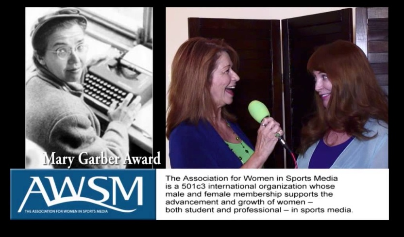 Dianemarie Collins interviews Lisa Olson in 2014 when the Association of Women in Sports Media presented its Mary Garber Award to her in recognition of her time as a pioneering sports reporter.