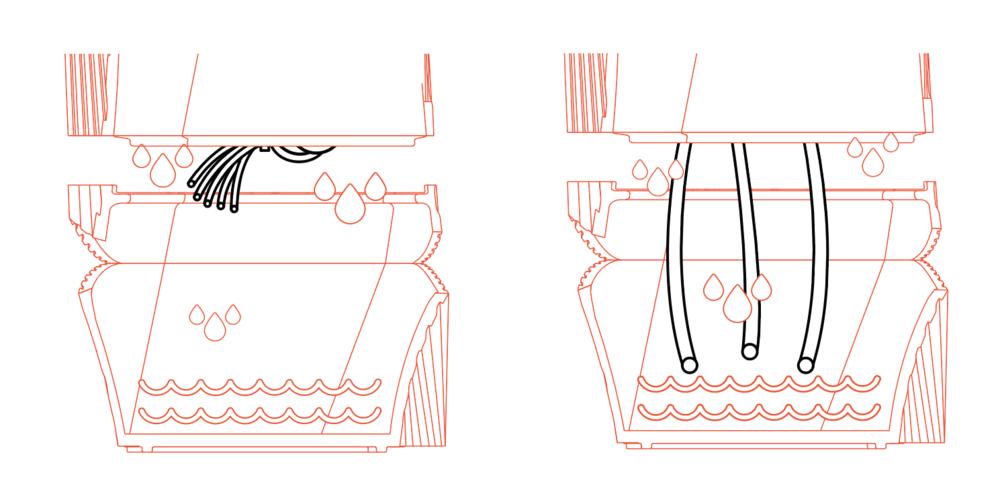 Foto izquierda: Hilos de Capilaridad recogidos. Foto derecha: Hilos de capilaridad en contacto con el agua.