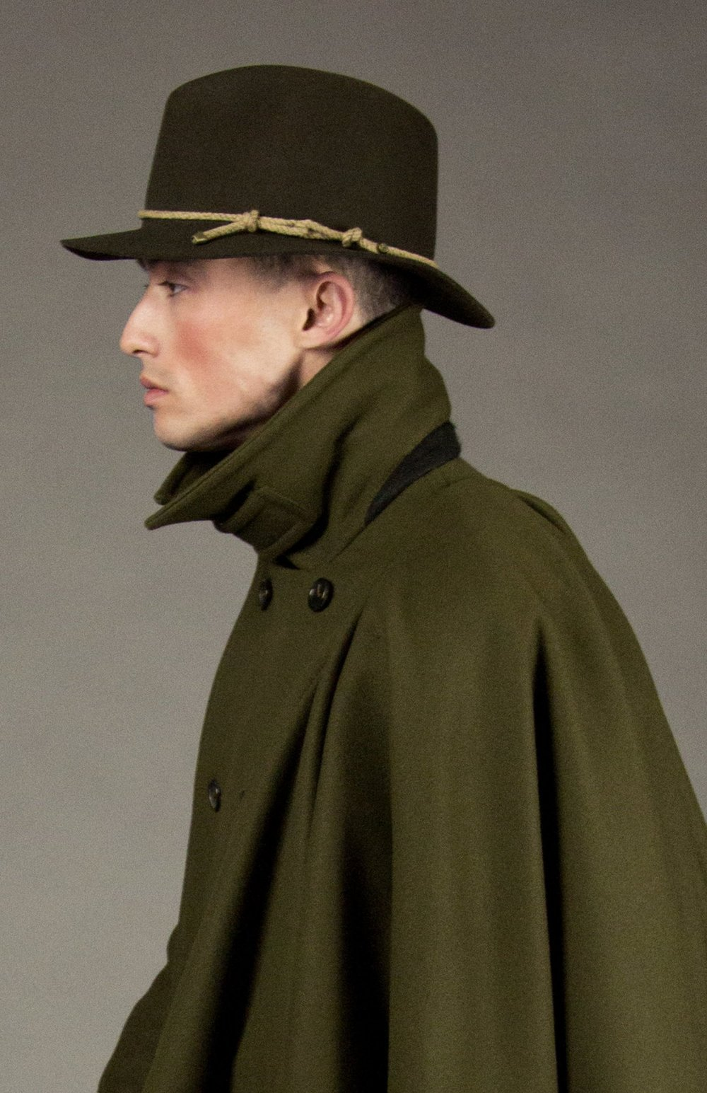 hat 1 loden  felted fedora with signature natural melange rope detail and brass metal tips. made in collaboration with bollman hats, the oldest hat manufacturer in america.  sizes 1-2  100% felted wool  100% cotton interior band in our signature khaki twill