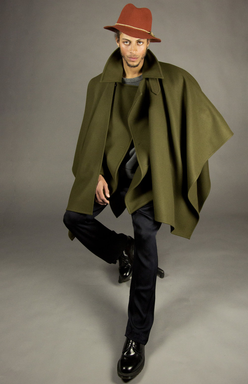 cloak 2 loden  square-cut blanket wrap with open front.  one size  made in america  100% italian felted wool