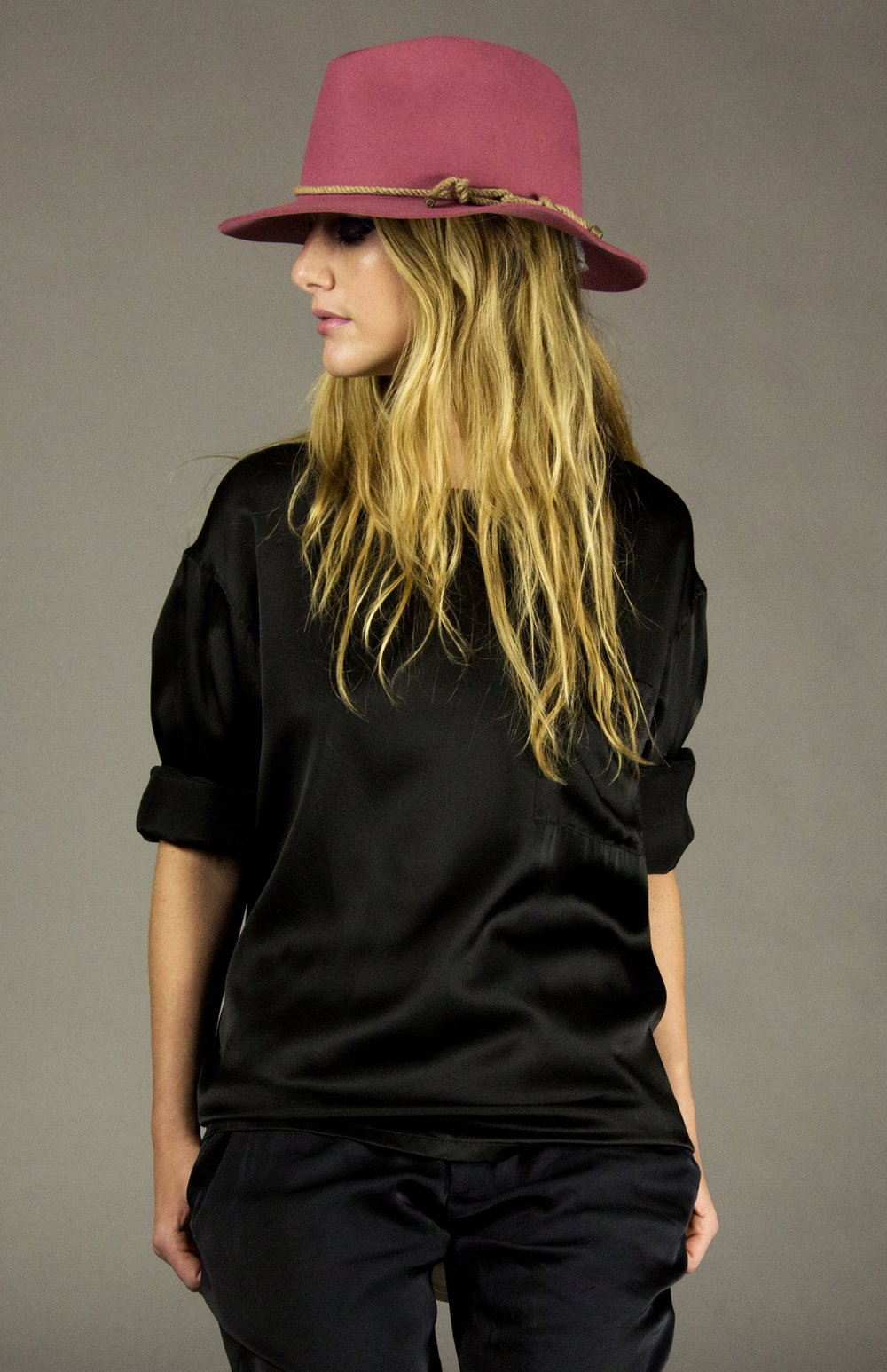 box top 1 black  silk slouch fit t-shirt with chest pocket.oversized crew neck. drop shoulder.full length sleeves.  sizes 0-1-2-3  100% washed silk charmuse