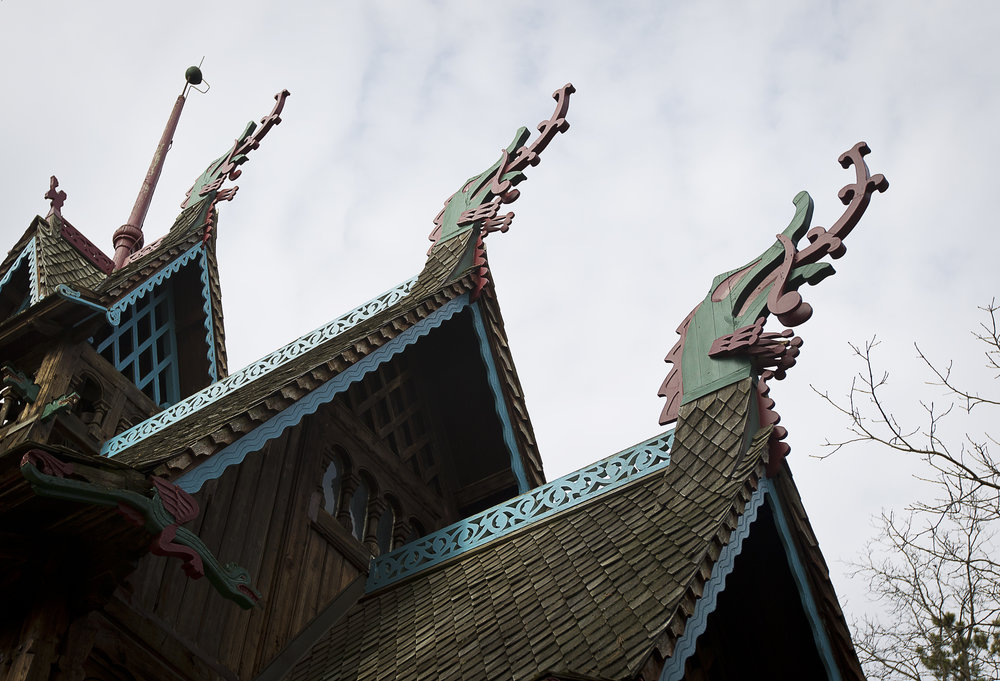 "BLUE MOUNDS—November 7, 2014: The view of the Norway Building, with dragon-adorned roof and modeled after a 12th Century Norwegian Church or ""stavkirke"" at ""Little Norway""."